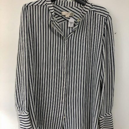 Loft Button Down Long Sleeve Blouse- Size Lrg