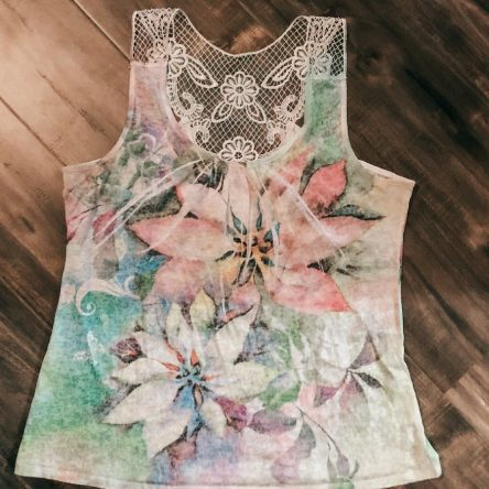 Warehouse One Floral Print Scoop Neck Sleeveless Top – Size XL