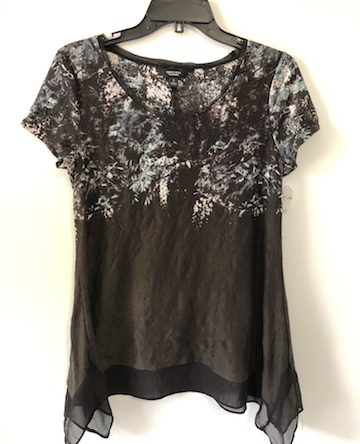 Vera Wang Chiffon Trim Short Sleeve Top – Size S