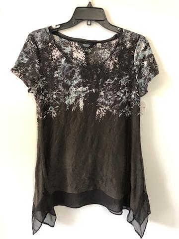 Vera Wang Chiffon Trim Short Sleeve Top – Size S