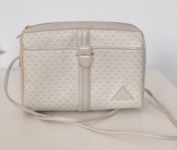 Liz Claiborne Ivory Printed Small Satchel Purse