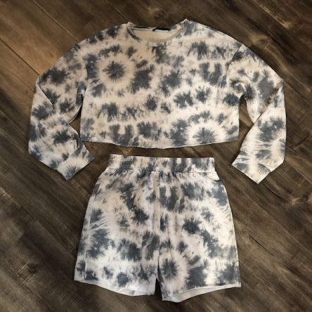 Shein White and Grey Tie-Dye Lounge Wear Set – Size M
