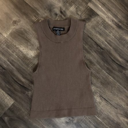 Urban Planet Beige Knit High-Neck Sleeveless Crop Top – Size M