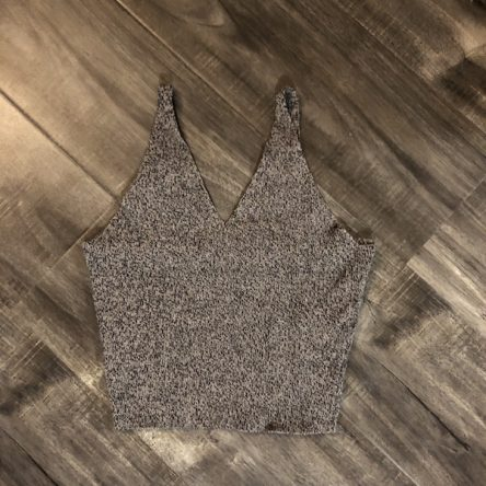 Urban Planet Beige Knit Deep-V Sleeveless Crop Top – Size M
